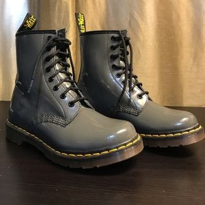 Dr. Martens 1460 W Gray Patent Leather Boots